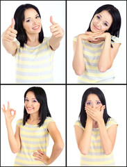 Collage of emotional young woman isolated on white