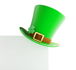 St. Patrick's day green hat on blank page
