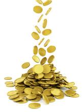Spada złote monety - na białym tle
