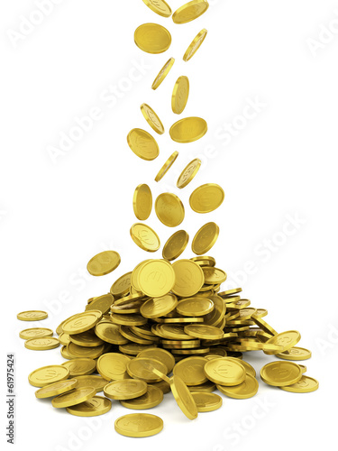Falling golden coin - isolated on white