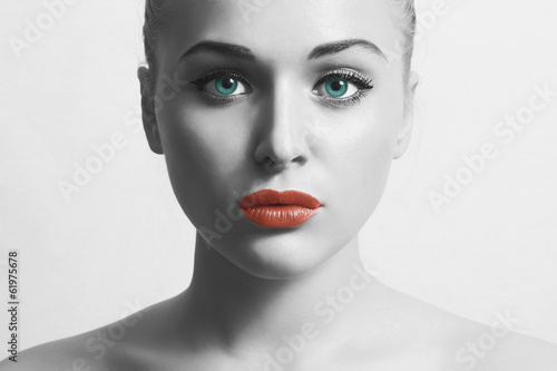 Beautiful Young Woman.Art monochrome portrait with Red Lips
