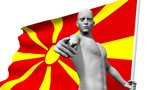 man with macedonia national banner