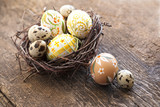 Easter eggs in nest of twigs
