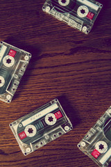 cassette tapes on desk