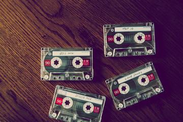 cassettes on desk