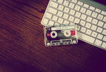 love songs tape on keyboard