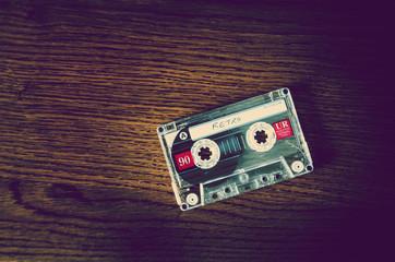 retro cassette on desk