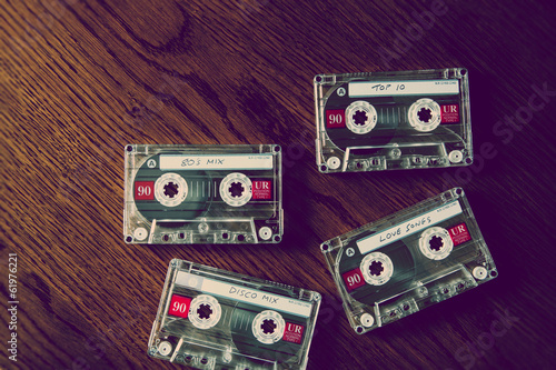 cassettes on desk