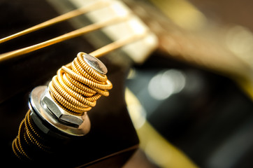 Close up detail of guitar string