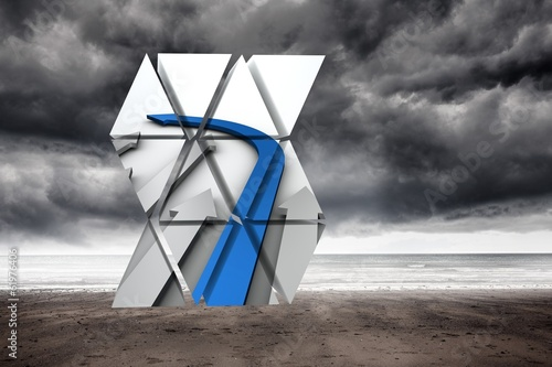 Composite image of blue arrow on abstract screen