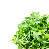 Arugula salad  isolated on white background close up. Heap of fr