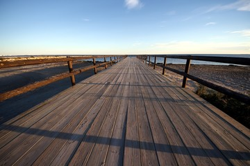 Wooden footbridge in Alicante beach