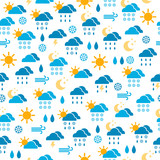 Seamless pattern of weather icons, endless background of sky