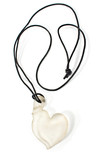 White heart pendant necklace isolated on white