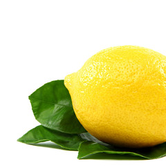 Fresh lemon with green leaves, isolated on a white background.