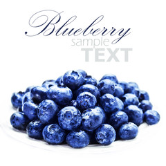 Blueberries on white plate isolated on white background with cop