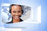 Composite image of call centre agent on abstract screen