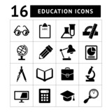 Set black icons of school and education