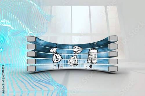 Composite image of time and profit concept on abstract screen