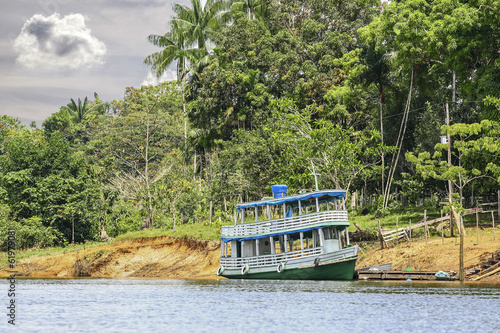 Wooden boat on the Amazon river, Brazil.