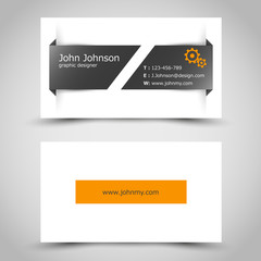 business card with slit sticker