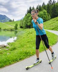 Skiroller-Training diagonal