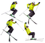 Collection of skier jumping freeride tricks on white background