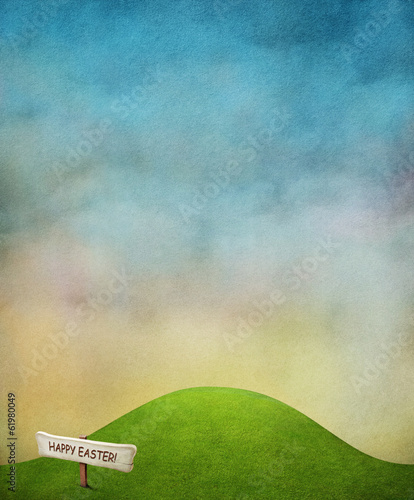Bright spring background with green lawn and blue sky