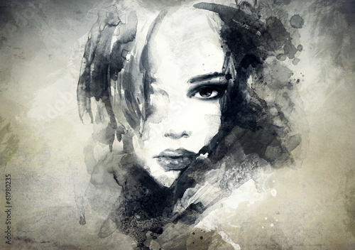 abstract  woman portrait - 61980235