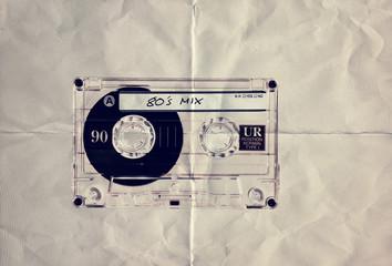 retro paper 80s cassette