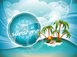 Vector Summer Holiday Design with Paradise Island