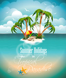 Summer holiday illustration with paradise island