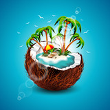 Vector illustration on a summer Holiday theme with coconut