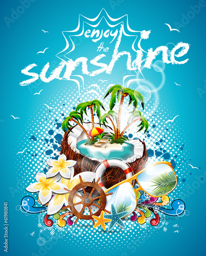 Vector Summer Holiday Flyer Design with coconut
