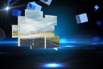 Composite image of open road on abstract screen