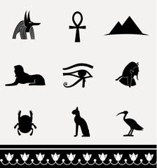 Ancient egypt icon set. Vector illustration.
