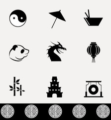 Chinese culture - vector icon set.