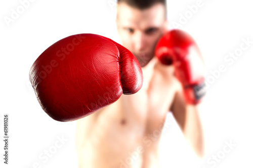 Aluminium Vechtsporten Boxing. Fighters glove. Isolated on white background. Bokeh.