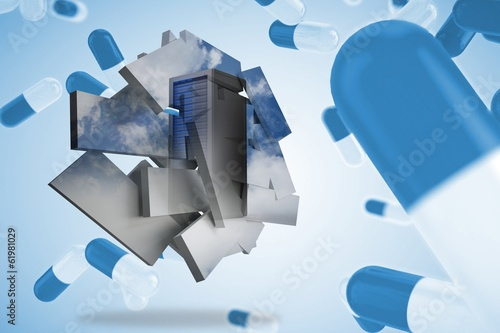 Composite image of server tower on abstract screen