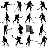 Set of silhouettes of hockey player. Isolated on white. illustra