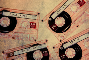 textured music cassettes