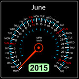 2015 year calendar speedometer car in vector. June.