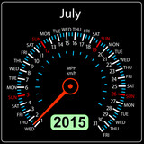 2015 year calendar speedometer car in vector. July.