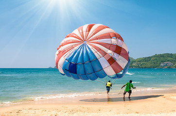 Parasailing at Patong Beach in Phuket - Thailand extreme Sports