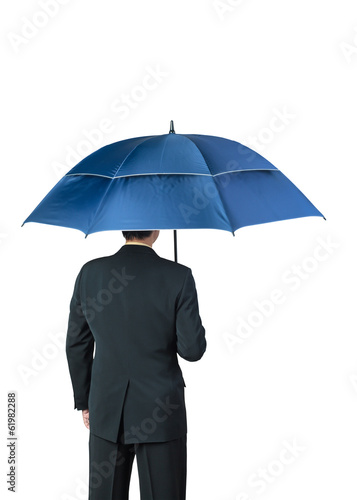 Businessman and umbrella on white background