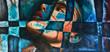 Leinwandbild Motiv Abstrakte Kunst Gemälde Ölgemälde Kunstdruck Frau