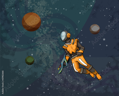 Astronaut in space suit floating in the cosmos