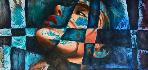 Abstrakte Kunst Gemälde Ölgemälde Kunstdruck Frau - 61982690