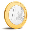 One Euro coin isolated on white background