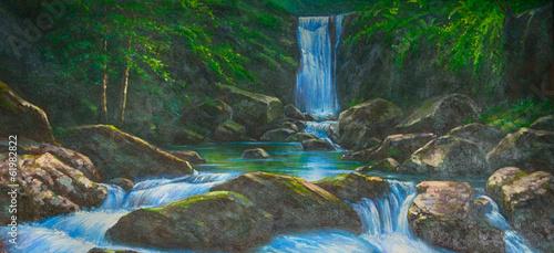 Fotobehang Olieverf Kunstdruk Bach Wasserfall Gemälde Ölgemälde Kunstdruck artprint